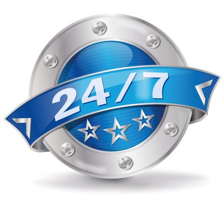 Button 24 7  Ilustrace