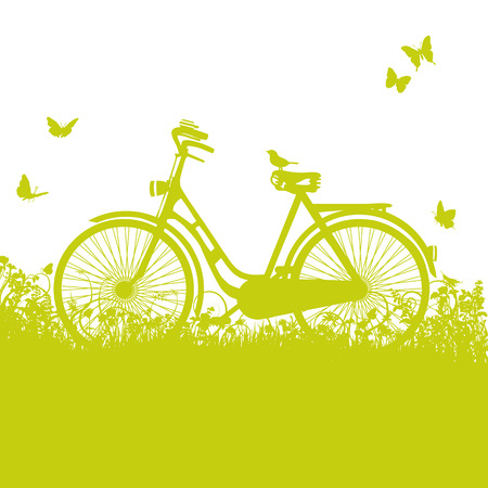 Bicycle in the grass  Vector