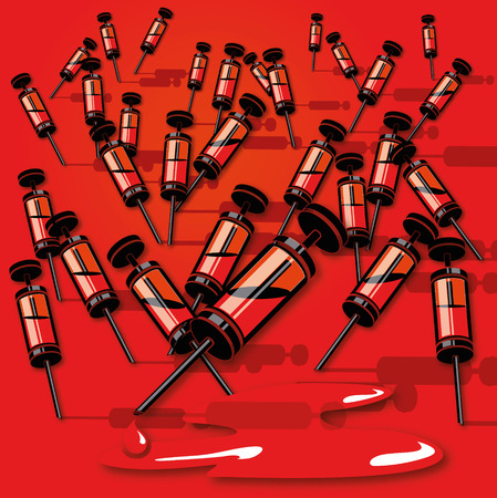 Many small syringes with blood