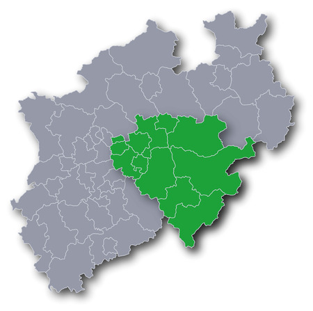 north rhine westphalia: Map of the Government district Arnsberg