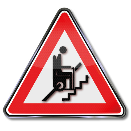 armrests: Sign attention stair lift for pensioners  Illustration