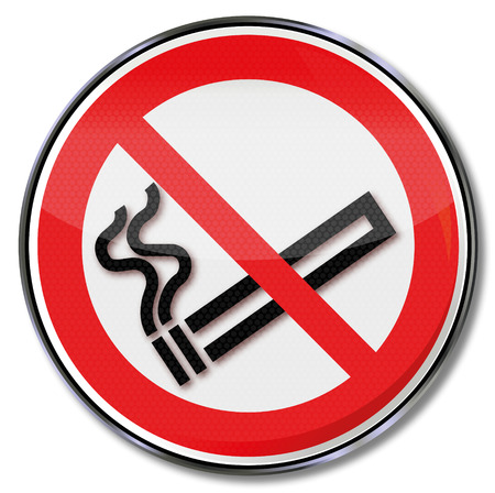 occupational risk: Prohibition sign no smoking  Illustration