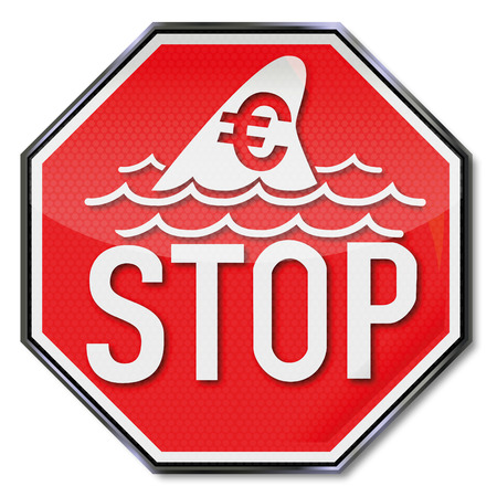 bailout: Stop sign with dorsal fin of a shark and euro