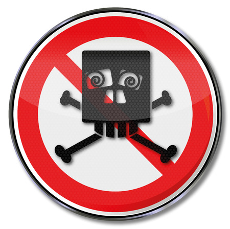 Prohibition sign with funny skull of squints  Vector