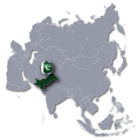 islamabad: Asia map with Pakistan