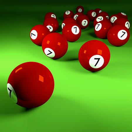 ambiguity: Brown billiard balls number seven  Stock Photo