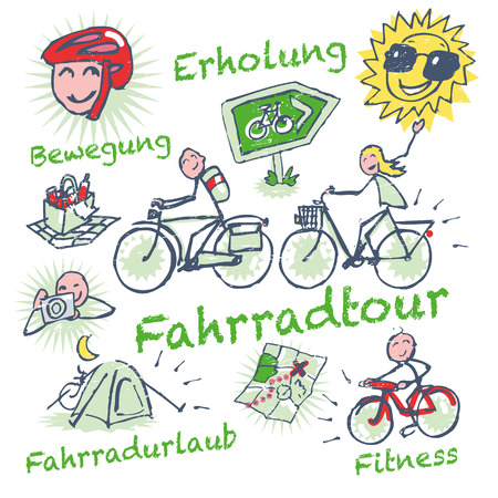 Stick figure cycling holidays and bike tour  Vector