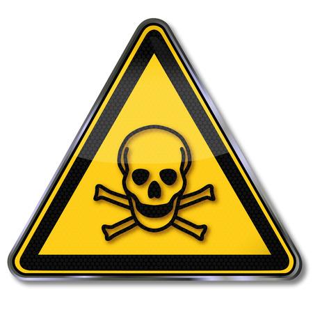 sustancias toxicas: Señal de peligro de advertencia sustancias tóxicas