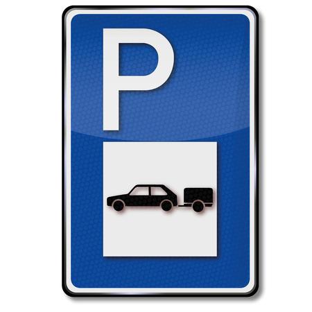caravans: Blue shield parking for cars with trailer