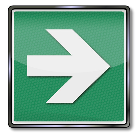 Additional sign exit sign with arrow pointing right