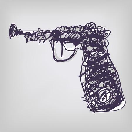 mixed media: Drawing with a gun  Illustration