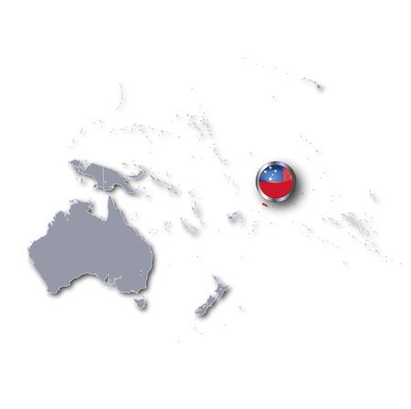 samoa: Pacific map with Samoa Stock Photo