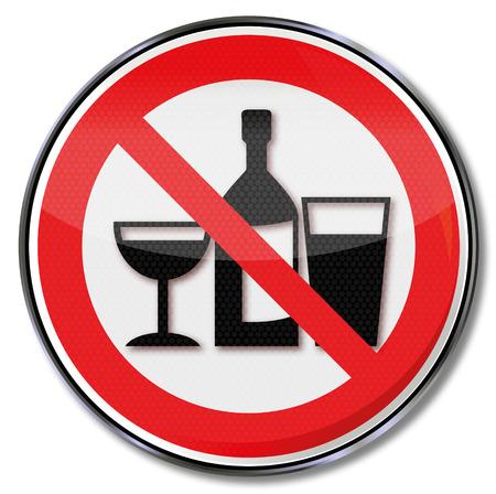 alcoholismo: Prohibición signo no beber en estas habitaciones