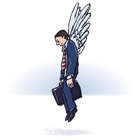 lack of confidence: Businessman with wings