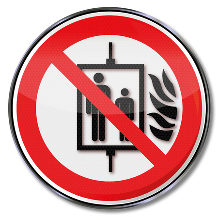 prohibition: Prohibition sign do not use elevator in case of fire