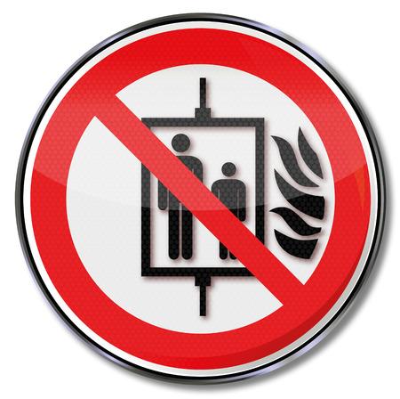 interdiction: Signe d'interdiction de ne pas utiliser l'ascenseur en cas d'incendie