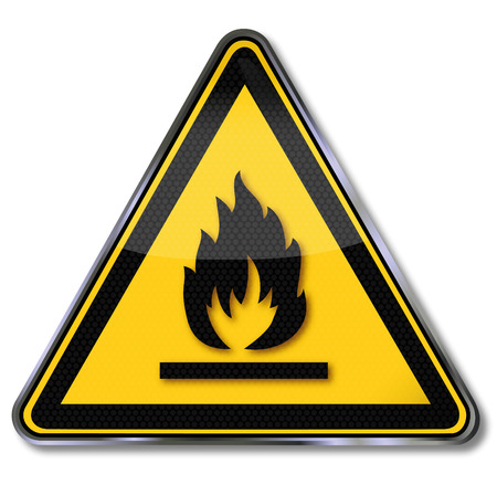 flammable warning: Danger sign warning sign flammable materials  Illustration