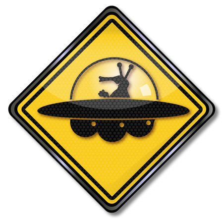 Sign with martians and ufo  Vector