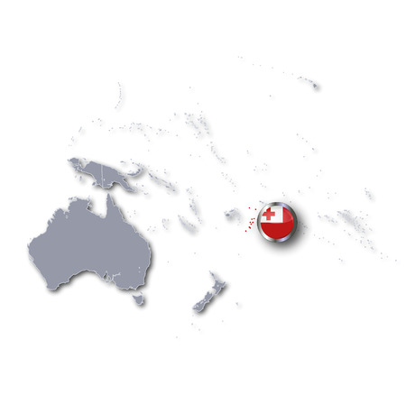 tonga: Pacific map with Tonga  Stock Photo