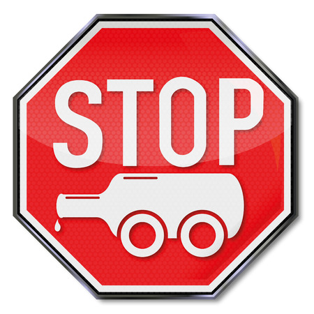 Stop sign bottle on wheels and alcoholism  Vector