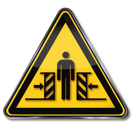 crushing: Danger sign warning of crushing