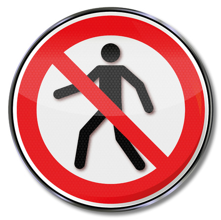 ban: Prohibition sign for pedestrians