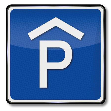 parking garage: Traffic sign parking garage