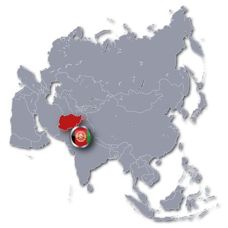 landlocked: Asia map with Afghanistan Stock Photo