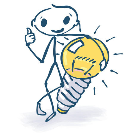 Stick figure with ideas and light bulb