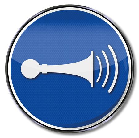 sleeping car: Mandatory sign horn and siren  Illustration