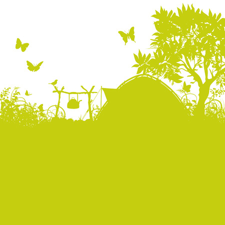 scouts: Tent and campground in the grass