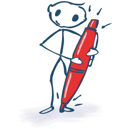 Stick figure with red pencil Vector