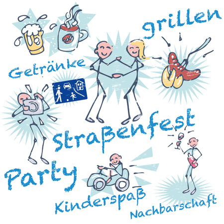 street party: Stick figures and street festival