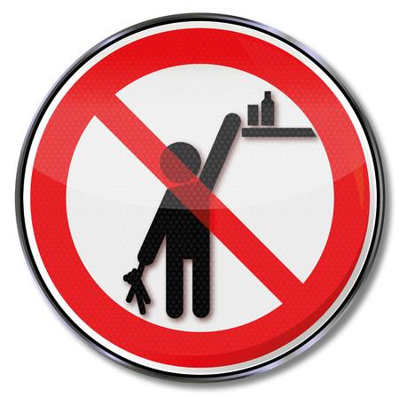 interdiction: Signe d'interdiction s'il vous plaît garder les produits hors de portée des enfants Illustration