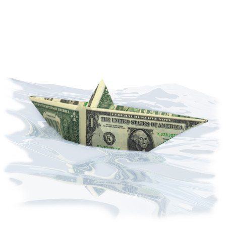 severance: Paper boat with one Dollar Stock Photo