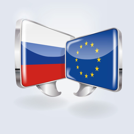 Bubbles with Russia and Europe  Illustration