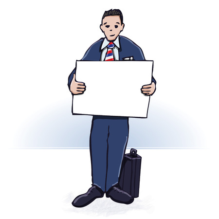 Businessman with a poster  Vector