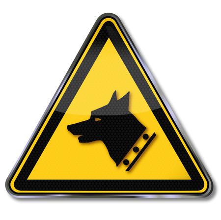 dog bite: Danger sign warning before the watchdog