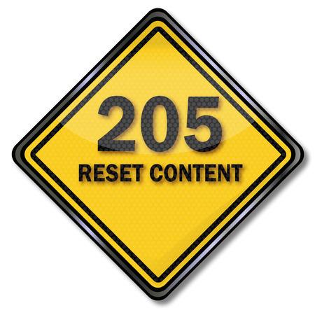 e new: Computer sign 205 Reset Content Illustration