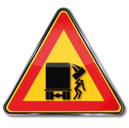 dangerous goods: Warning sign caution falling objects from the truck  Illustration