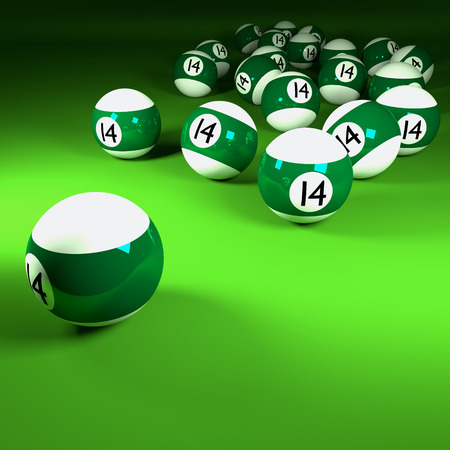 number 14: Green white billiard balls number fourteen