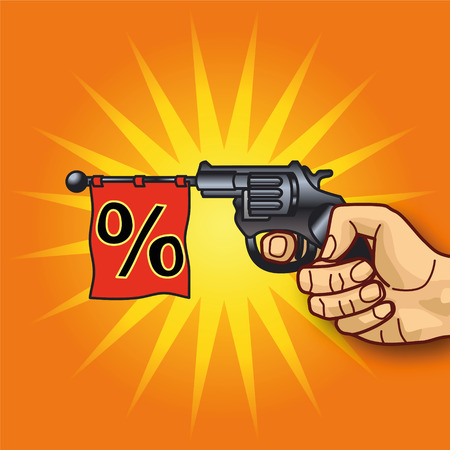 rampage: Hand with revolver and percentages Illustration