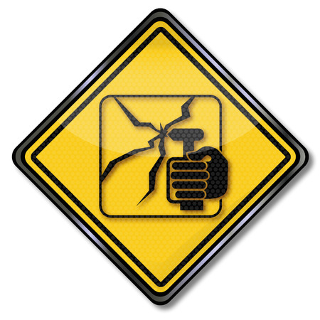 Traffic sign smash hammer into the window here  Illustration