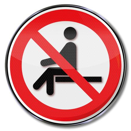 Prohibition sign no sitting
