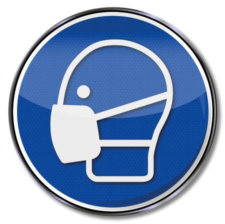 Mandatory sign use mask  일러스트