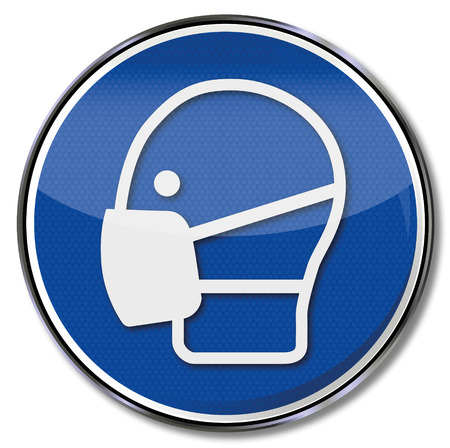 occupational risk: Mandatory sign use mask  Illustration