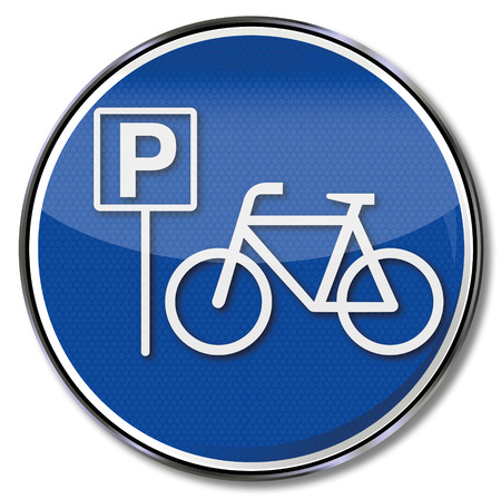 bicycle lane: Sign with bicycle and bicycle parking