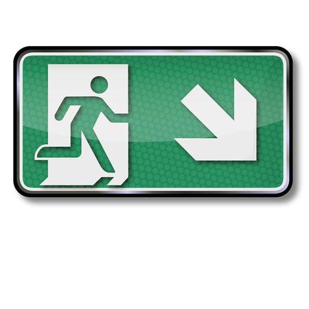 no correr: Señal de salida con salida de emergencia y la salida de emergencia a la parte inferior derecha Vectores