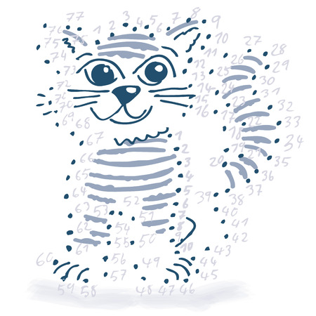 genial: Point drawing with a little cat