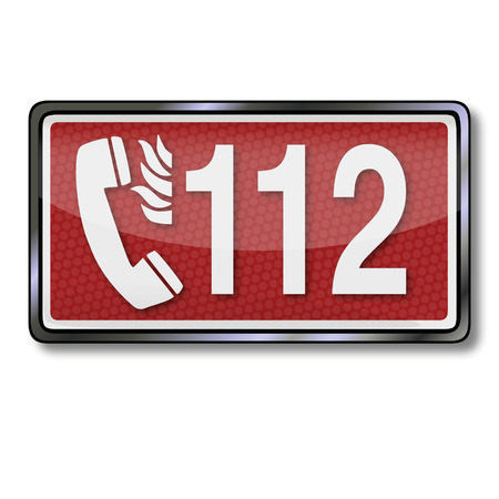 extinguishers: Fire safety sign with emergency number 112 in case of fire  Illustration